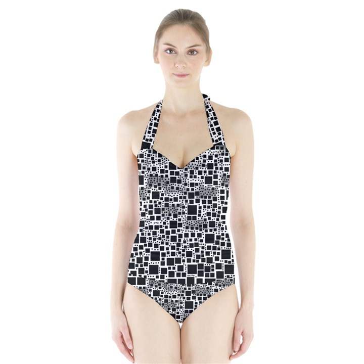 Block On Block, B&w Halter Swimsuit