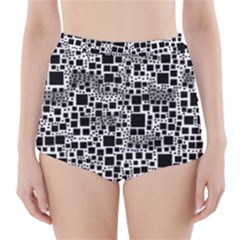 Block On Block, B&w High Waisted Bikini Bottoms