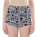 Block On Block, B&w High-Waisted Bikini Bottoms View1
