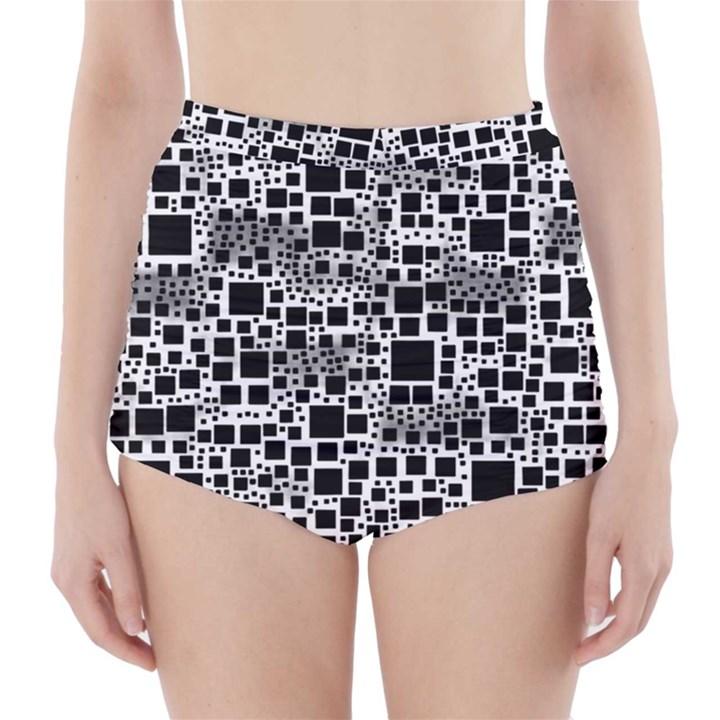 Block On Block, B&w High-Waisted Bikini Bottoms