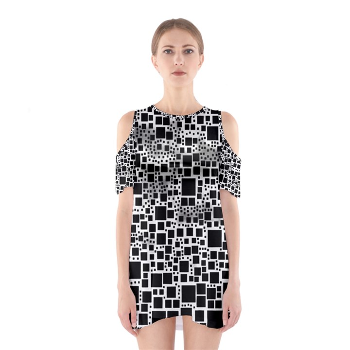 Block On Block, B&w Cutout Shoulder Dress