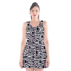 Block On Block, B&w Scoop Neck Skater Dress