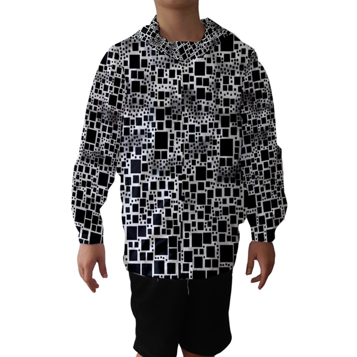 Block On Block, B&w Hooded Wind Breaker (Kids)