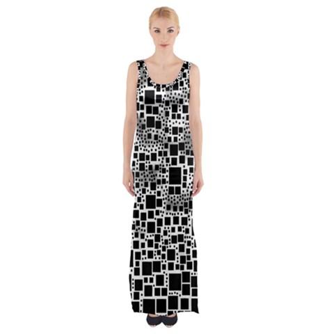 Block On Block, B&w Maxi Thigh Split Dress