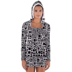 Block On Block, B&w Women s Long Sleeve Hooded T Shirt