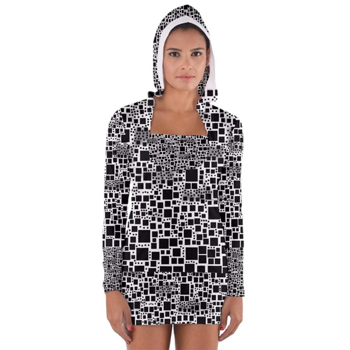 Block On Block, B&w Women s Long Sleeve Hooded T-shirt