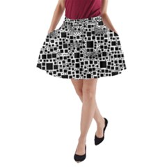 Block On Block, B&w A-Line Pocket Skirt