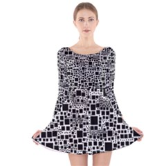 Block On Block, B&w Long Sleeve Velvet Skater Dress