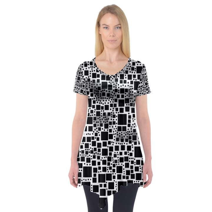 Block On Block, B&w Short Sleeve Tunic