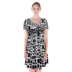 Block On Block, B&w Short Sleeve V-neck Flare Dress