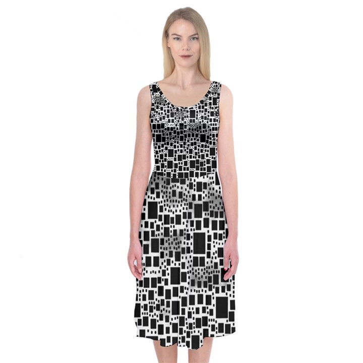 Block On Block, B&w Midi Sleeveless Dress