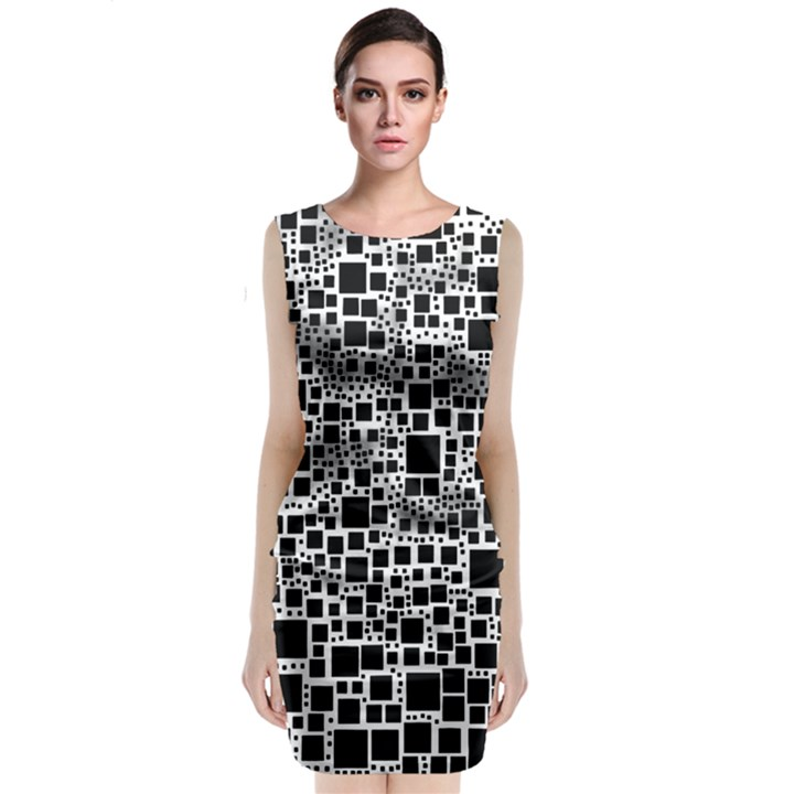 Block On Block, B&w Classic Sleeveless Midi Dress