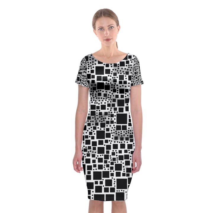 Block On Block, B&w Classic Short Sleeve Midi Dress