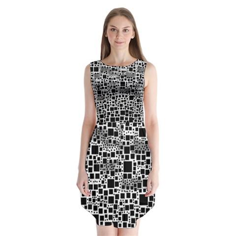 Block On Block, B&w Sleeveless Chiffon Dress