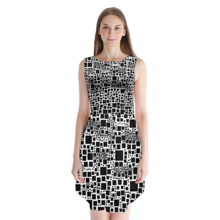 Block On Block, B&w Sleeveless Chiffon Dress