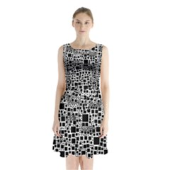 Block On Block, B&w Sleeveless Chiffon Waist Tie Dress