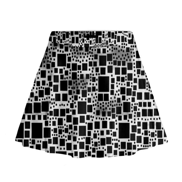 Block On Block, B&w Mini Flare Skirt