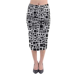 Block On Block, B&w Midi Pencil Skirt