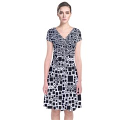 Block On Block, B&w Short Sleeve Front Wrap Dress