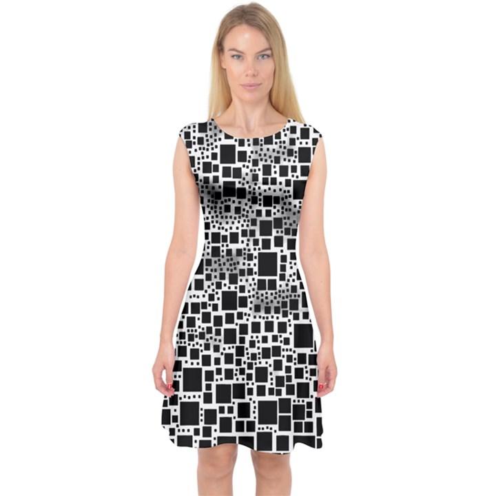 Block On Block, B&w Capsleeve Midi Dress