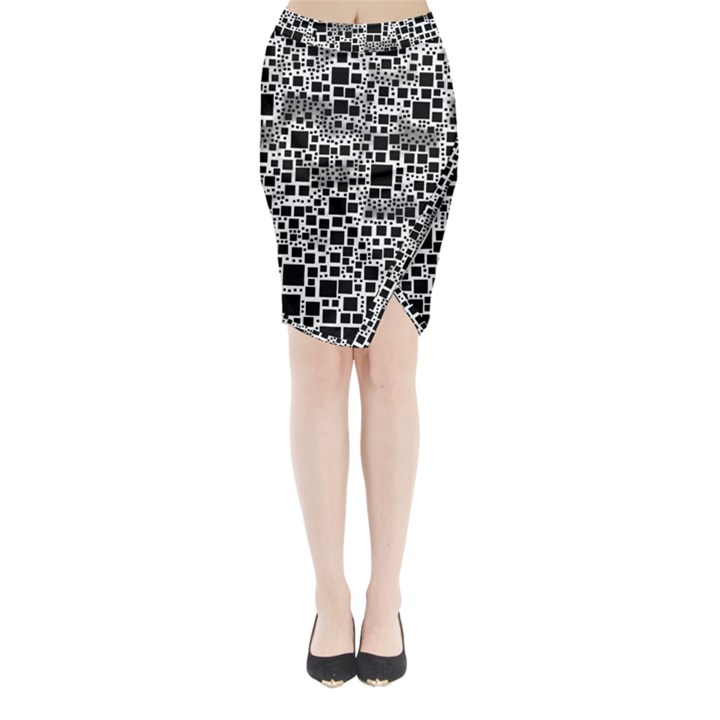 Block On Block, B&w Midi Wrap Pencil Skirt