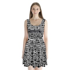 Block On Block, B&w Split Back Mini Dress