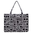Block On Block, B&w Medium Zipper Tote Bag View1