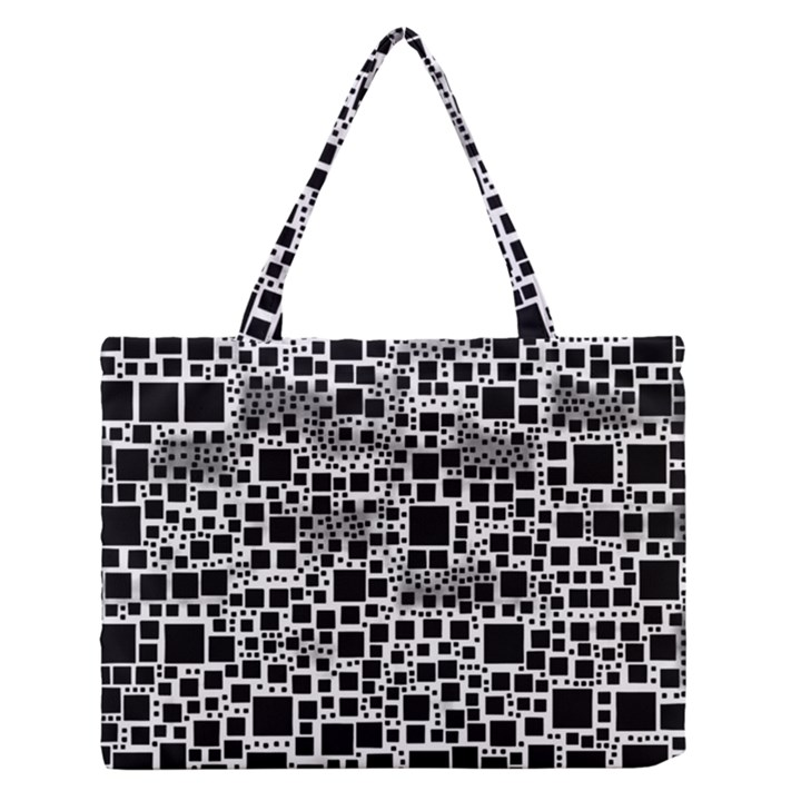 Block On Block, B&w Medium Zipper Tote Bag