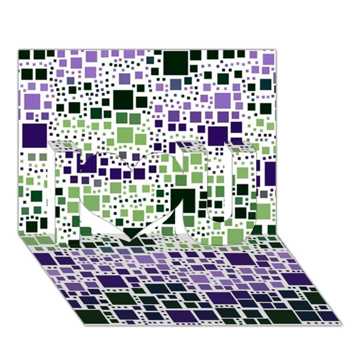 Block On Block, Purple I Love You 3D Greeting Card (7x5)