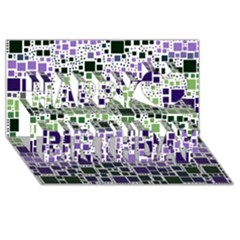 Block On Block, Purple Happy Birthday 3d Greeting Card (8x4)