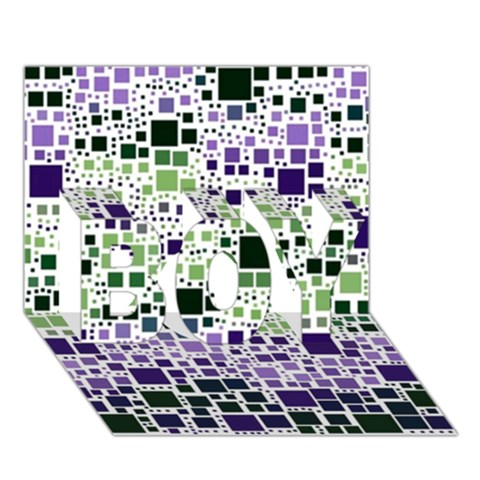 Block On Block, Purple BOY 3D Greeting Card (7x5)