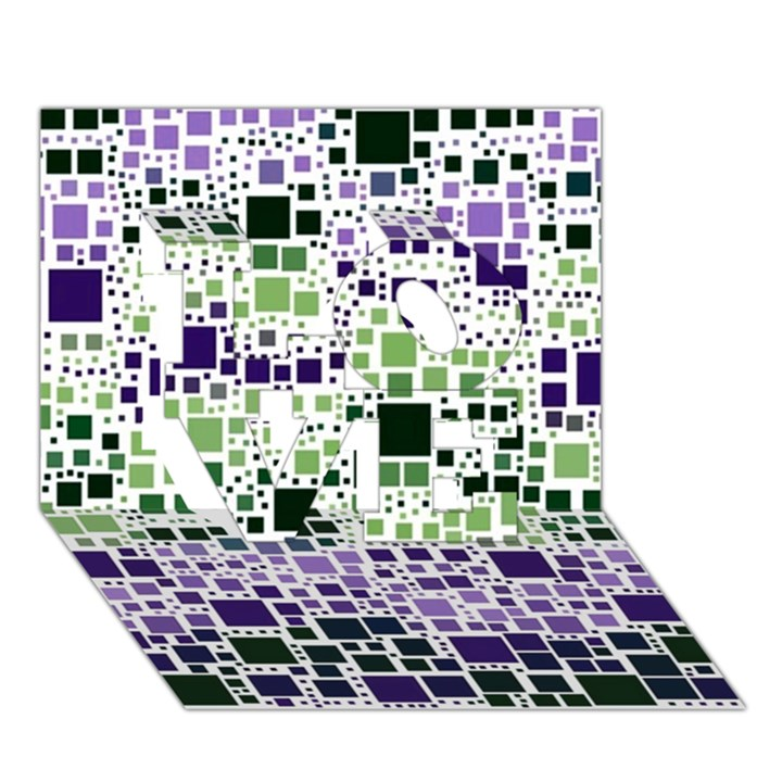 Block On Block, Purple LOVE 3D Greeting Card (7x5)