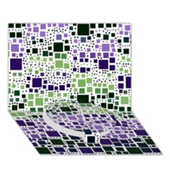 Block On Block, Purple Circle Bottom 3D Greeting Card (7x5)