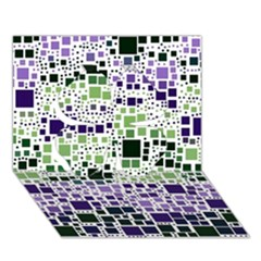 Block On Block, Purple Clover 3D Greeting Card (7x5)