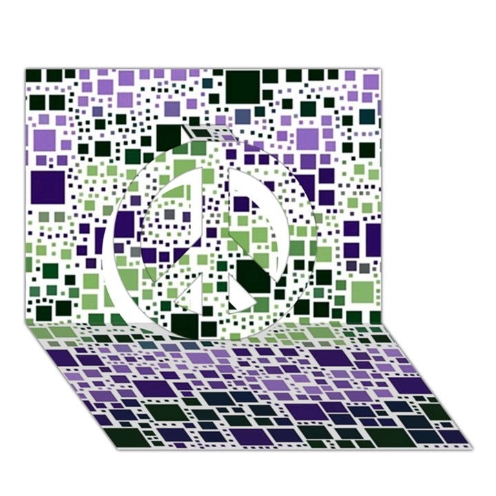 Block On Block, Purple Peace Sign 3D Greeting Card (7x5)