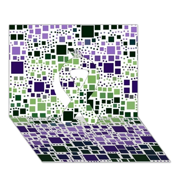 Block On Block, Purple Ribbon 3D Greeting Card (7x5)