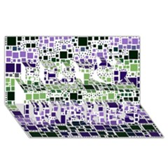 Block On Block, Purple Best Wish 3D Greeting Card (8x4)