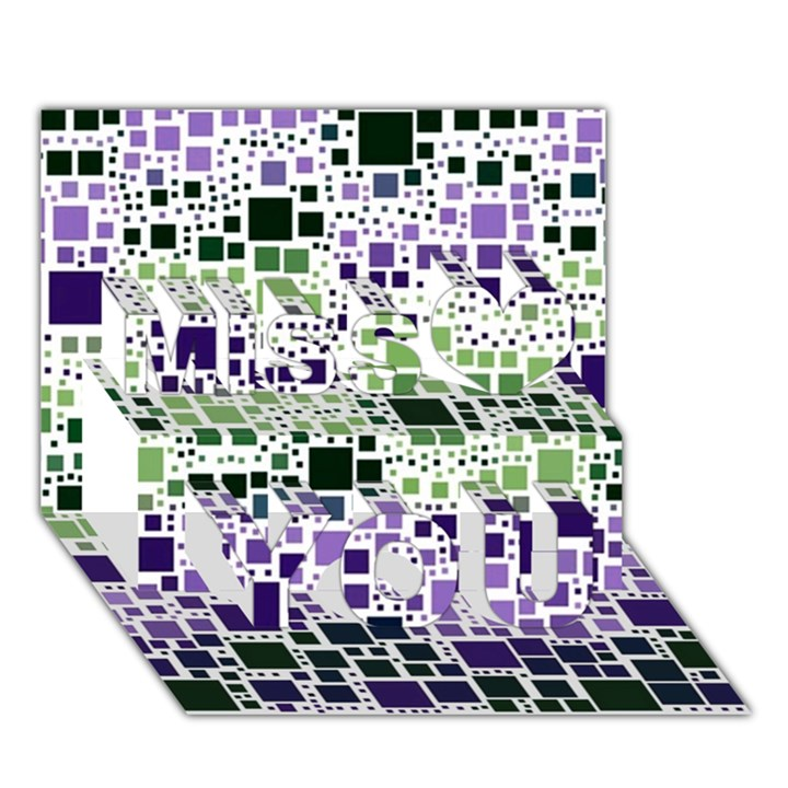 Block On Block, Purple Miss You 3D Greeting Card (7x5)