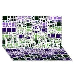 Block On Block, Purple ENGAGED 3D Greeting Card (8x4)