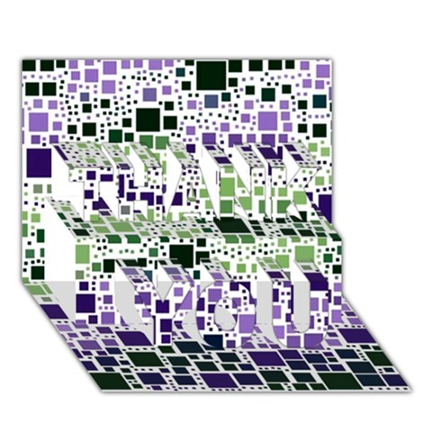 Block On Block, Purple THANK YOU 3D Greeting Card (7x5)