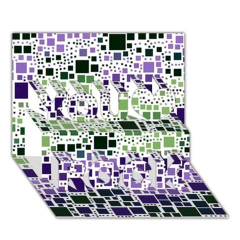 Block On Block, Purple You Rock 3D Greeting Card (7x5)