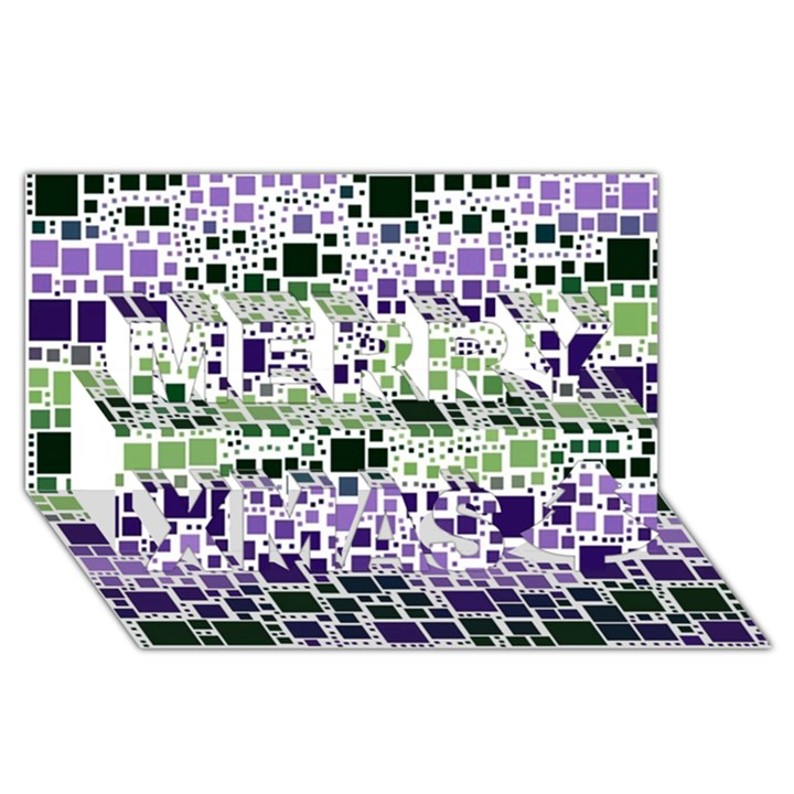 Block On Block, Purple Merry Xmas 3D Greeting Card (8x4)