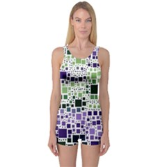 Block On Block, Purple One Piece Boyleg Swimsuit
