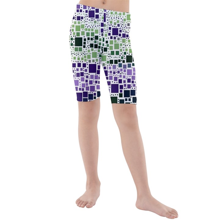 Block On Block, Purple Kids  Mid Length Swim Shorts