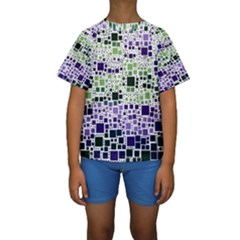 Block On Block, Purple Kids  Short Sleeve Swimwear