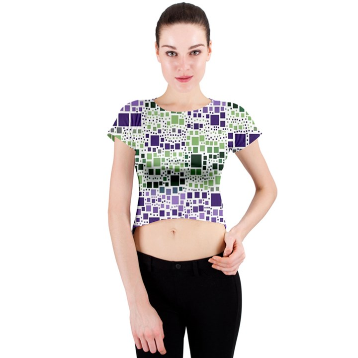 Block On Block, Purple Crew Neck Crop Top