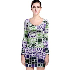 Block On Block, Purple Long Sleeve Bodycon Dress