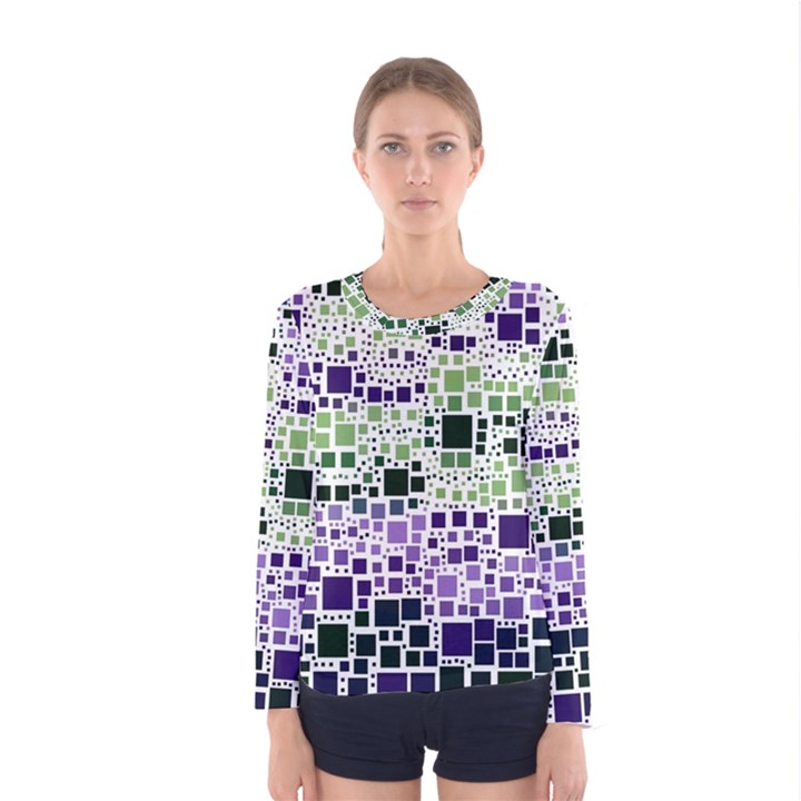 Block On Block, Purple Women s Long Sleeve Tee