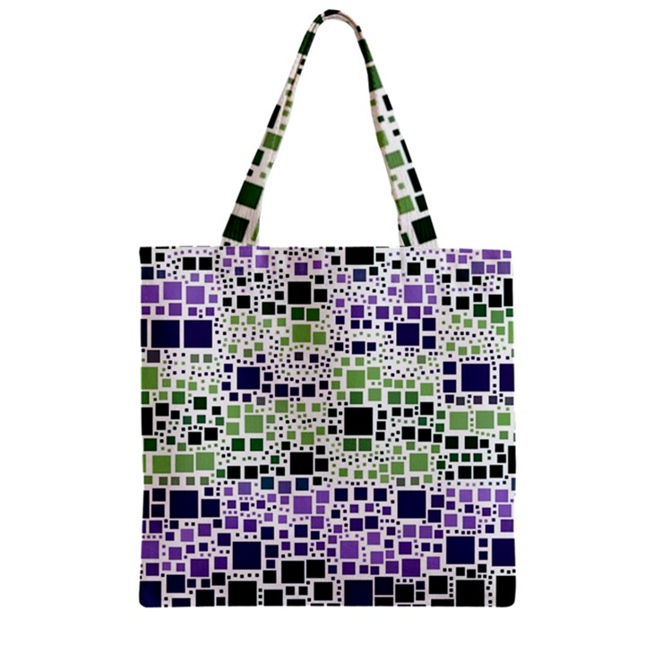 Block On Block, Purple Zipper Grocery Tote Bag