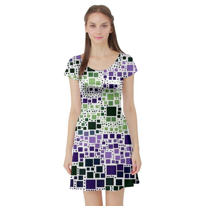 Block On Block, Purple Short Sleeve Skater Dress